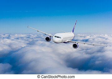 Airplane in the sky.  Passenger Airliner. Aircraft