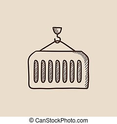 Cargo container sketch icon - Container lifted by a crane...