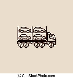 Car carrier sketch icon. - Car carrier sketch icon for web,...