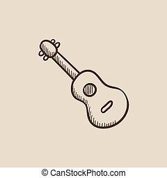 Guitar sketch icon.