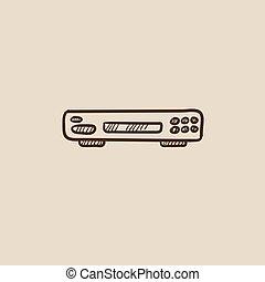 Video recorder sketch icon.