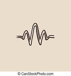 Sound wave sketch icon.