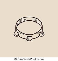 Tambourine sketch icon. - Tambourine sketch icon for web,...