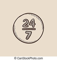 Open 24 hours and 7 days in wheek sign sketch icon - Open 24...