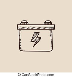 Car battery sketch icon - Car battery sketch icon for web,...