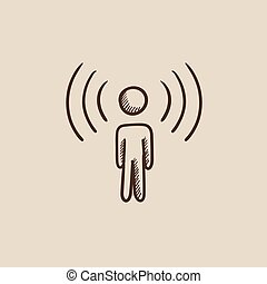 Man with soundwaves sketch icon. - Man with soundwaves...