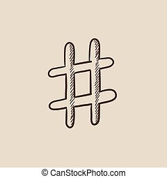 Hashtag symbol sketch icon - Hashtag symbol sketch icon for...