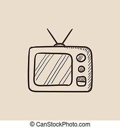 Retro television sketch icon - Retro television sketch icon...
