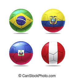 3D soccer ball with group B teams flags, isolated on white