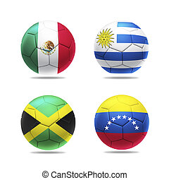 3D soccer ball with group C teams flags, isolated on white