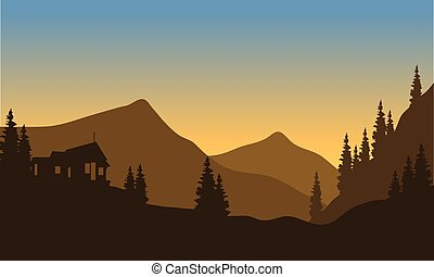 Silhouette of the mountain from below with brown background