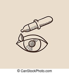 Pipette and eye sketch icon - Pipette and eye sketch icon...
