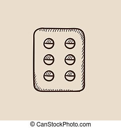 Plate of pills sketch icon - Plate of pills sketch icon for...