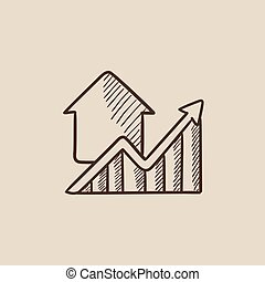 Graph of real estate prices growth sketch icon. - Graph of...