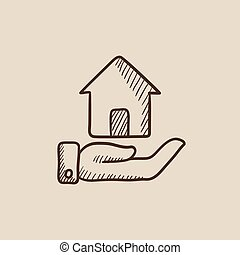 House insurance sketch icon. - House insurance sketch icon...