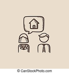 Couple dreaming about house sketch icon.