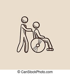 Nursing care sketch icon - A man pushing a wheelchair with a...