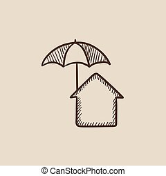 House under umbrella sketch icon - House under umbrella...