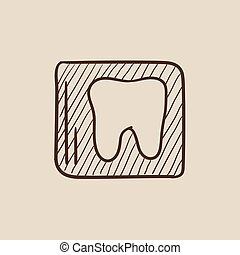 X-ray of tooth sketch icon - X-ray of the tooth sketch icon...