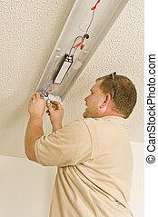 Install Ballast In Fluorescent Ligh - An electrician...