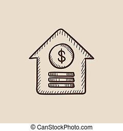 House with dollar symbol sketch icon.