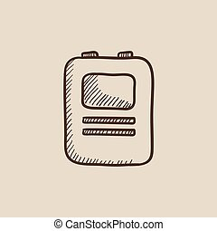 Heart defibrillator sketch icon - Heart defibrillator sketch...