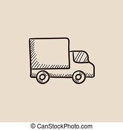 Delivery van sketch icon - Delivery van sketch icon for web,...