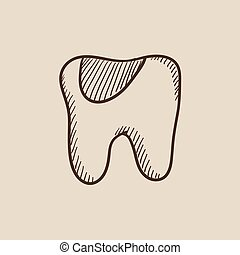 Tooth decay sketch icon - Tooth decay sketch icon for web,...