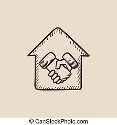 Handshake and successful real estate transaction sketch icon.