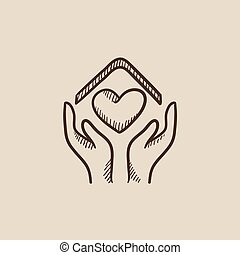 Hands holding house symbol with heart shape sketch icon.