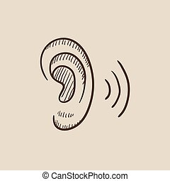 Human ear sketch icon - Human ear sketch icon for web,...