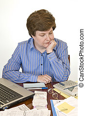 A Middle-aged Woman Paying Bills