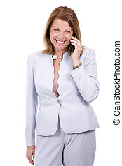 business woman on the phone - middle aged caucasian woman...