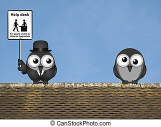 Help Desk Sign - Comical Help Desk sign with birds perched...