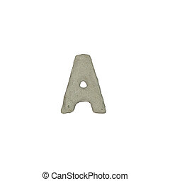 The A letter cement texture with clipping path