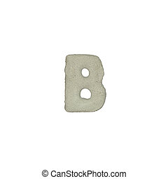 The B letter cement texture with clipping path