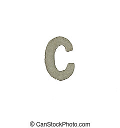 The C letter cement texture with clipping path