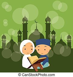 kids boys and girls read holy quran qoran Islam in mosque...