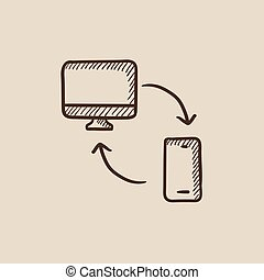 Synchronization computer with mobile device sketch icon -...