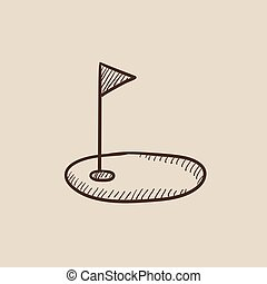 Golf hole with flag sketch icon - Golf hole with a flag...