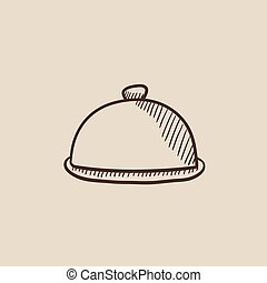 Restaurant cloche sketch icon - Restaurant cloche sketch...