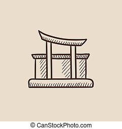 Torii gate sketch icon - Torii gate sketch icon for web,...
