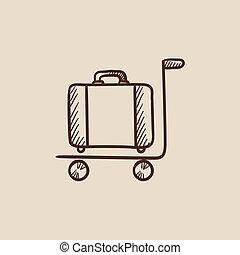 Luggage on trolley sketch icon - Luggage on a trolley sketch...