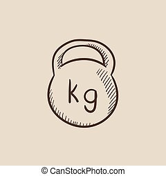 Kettlebell sketch icon - Kettlebell sketch icon for web,...