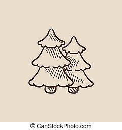 Pine trees sketch icon - Pine trees sketch icon for web,...