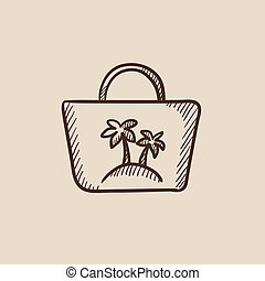 Beach bag sketch icon.