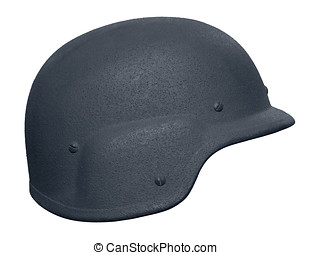 US Police Kevlar Helmet - A US police Kevlar helmet. As used...