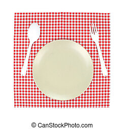 Top view plate and spoon, fork on red tablecloth texture