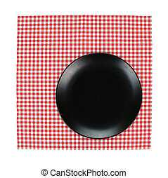 Top view plate on red tablecloth texture