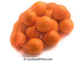 Oranges in red net isolated on white close up